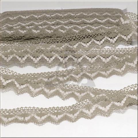 Кружево ажурное вязаное, серый лен и молочный