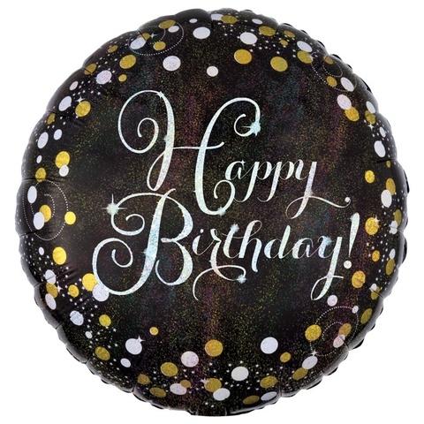 Шар круг Happy Birthday золотые точки