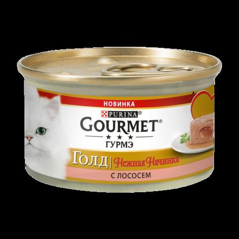 Gourmet Gold Консервы для кошек Нежная начинка с Лососем (Банка)
