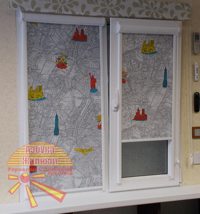 Кассетная рулонная штора с тканью New York citi - ВЕЧЕРОМ