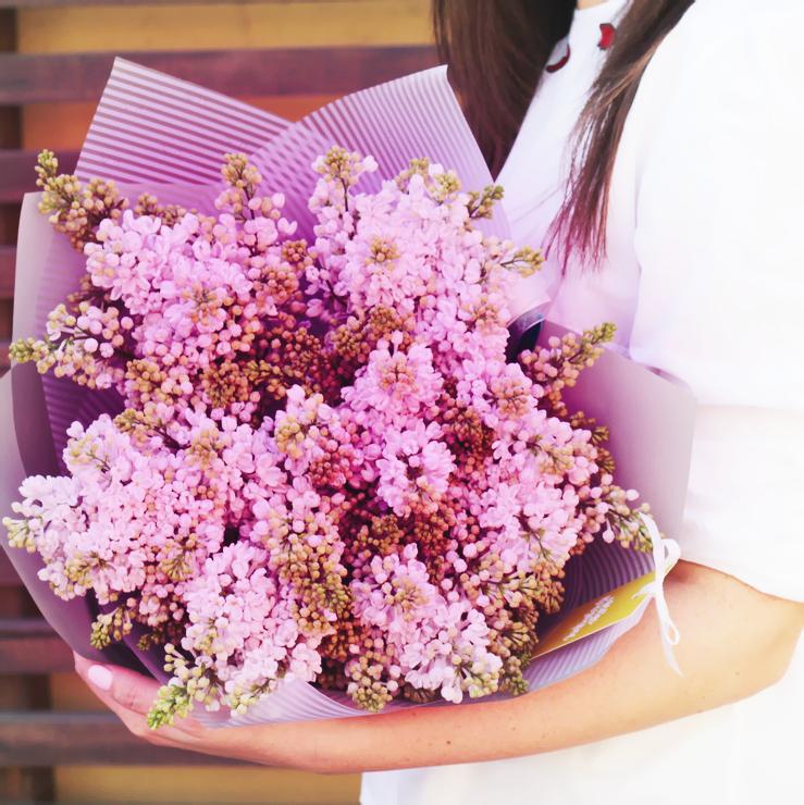 Розовая сирень букет 9шт купить в Перми
