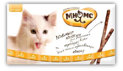 Мнямс лакомые палочки для кошек с цыпленком и печенью