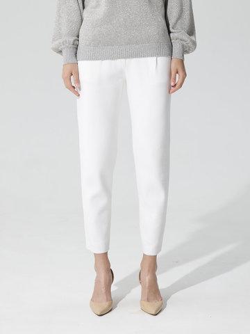 Женские укороченные брюки молочного цвета из вискозы - фото 4