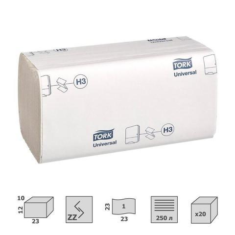 Полотенца бумажные листовые Tork Universal H3 ZZ-сложения 1-слойные 20 пачек по 250 листов (артикул производителя 120108)