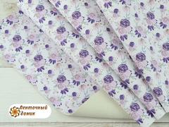 Экокожа фантазийный фиолетово-сиреневый букет на белом