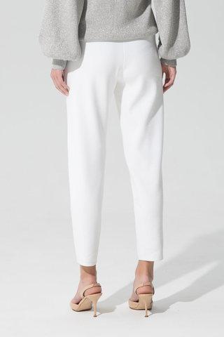 Женские укороченные брюки молочного цвета из вискозы - фото 3