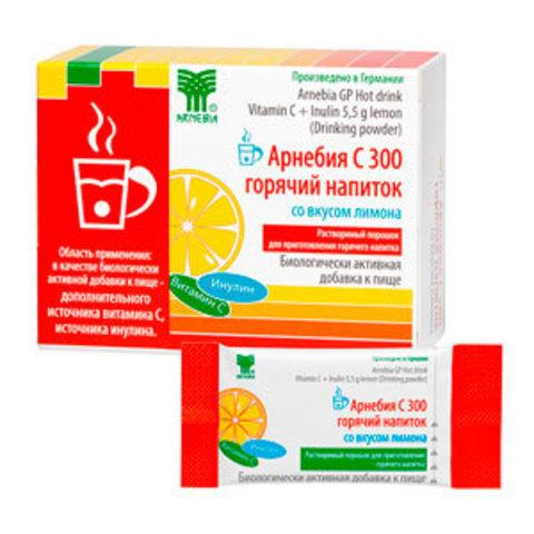 Арнебия С 300 горячий напиток со вкусом лимона, 10 пакетиков по 5,5 гр