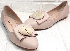 Модельные туфли женские на низком ходу кожаные Wollen G192-878-322 Light Pink.