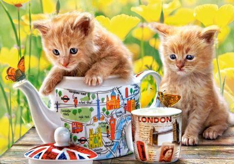 Картина раскраска по номерам 30x40 Котята и чайный набор
