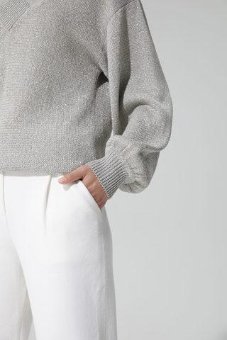 Женские укороченные брюки молочного цвета из вискозы - фото 5