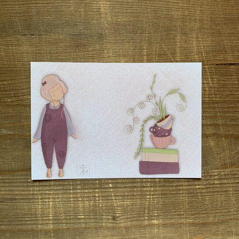 Фотография Открытка авторская почтовая «Девочка и книги» / 10*15 см купить в магазине Афлора