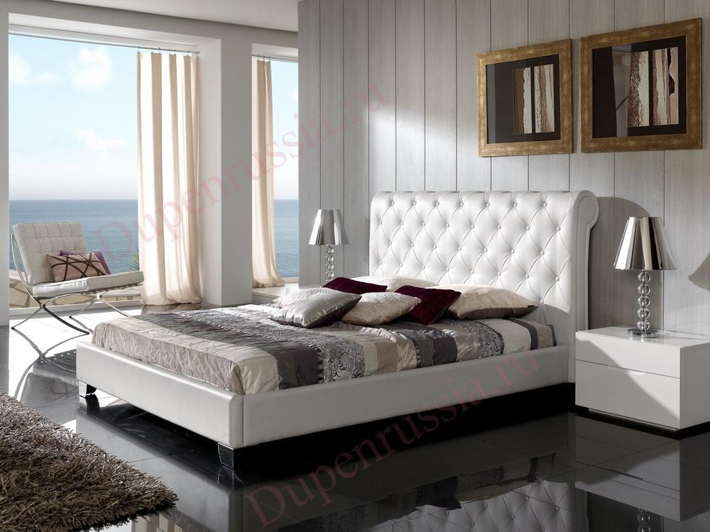 Кровать DUPEN 632 NURIA, Тумба DUPEN прикроватная М-100 белая