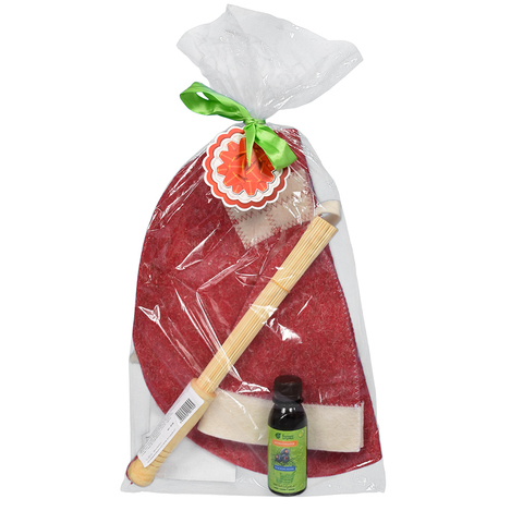 Подарочный Банный набор 4 предмета «Новогодний» (шапка, коврик, веник, ароматизатор)