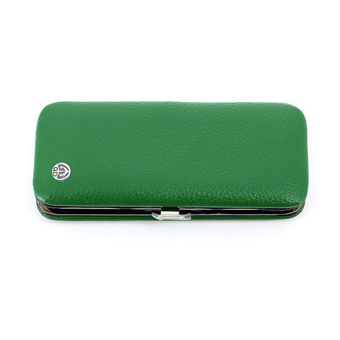 Маникюрный набор GD, 5 предметов, цвет зеленый, кожаный футляр
