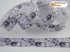 Лента репсовая Черно-белые цветы 22 мм