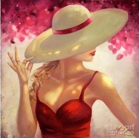 Алмазная Мозаика 30x40 Девушка в красном платье и белой шляпе (HZS375)