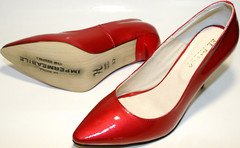 Красные лодочки на каблуке 10 см. Кожаные туфли лодочки лаковые. Женские туфли на устойчивом каблуке El Passo Red Lacquer.