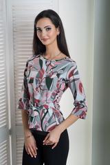 Павла. Блуза великих розмірів з поясом. Рожева абстракція