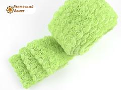 Ткань Розы на сетке весенне-зеленая
