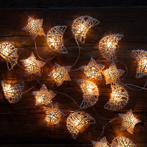Гирлянда ротанговые звездочки-луны белые 20 LED от батареек