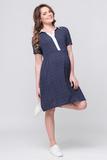 Платье для беременных и кормящих 08371 темно-синий в горошек