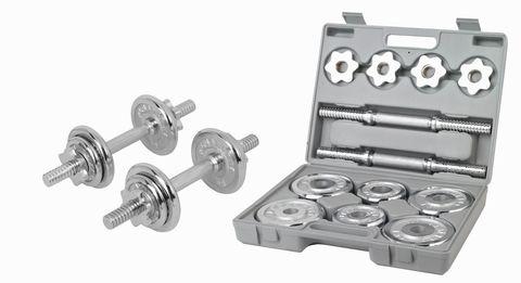 Набор разборных хромированных гантелей 2 по 5 кг в кейсе 3102CD