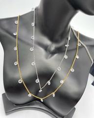 85891- Колье из серебра в лимонной позолоте  с круглыми цирконами бриллиантовой огранки на затяжке