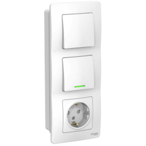 Блок: Розетка з/к шт 16А, 250В + Выключатель 1-кл.с подсветкой + Выключатель 1-кл. Цвет Белый. Schneider Electric Blanca. BLNBS101111