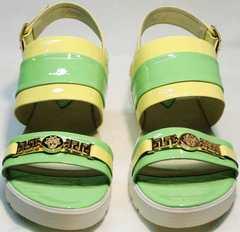 Удобные сандали женские на низком ходу Crisma 784 Yellow Green.