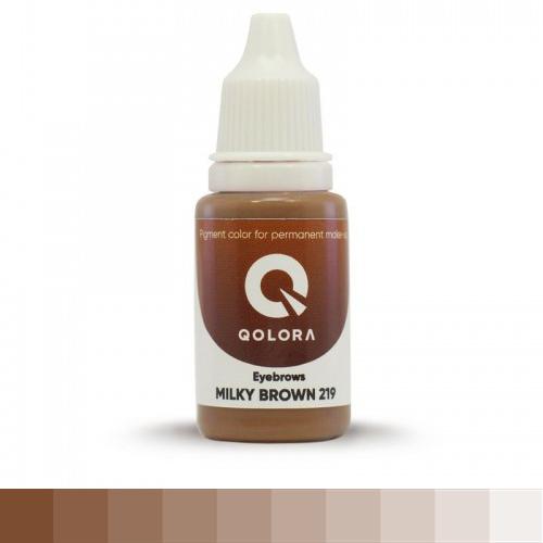 QOLORA MILKY BROWN 219 (МОЛОЧНО-КОРИЧНЕВЫЙ)  пигмент для татуажа бровей