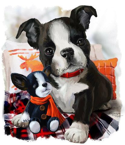 Картина раскраска по номерам 30x40 Щенок с игрушкой