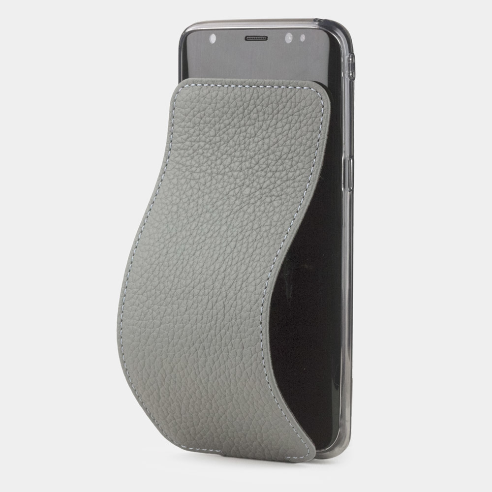 Чехол для Samsung Galaxy S8 Plus из натуральной кожи теленка, стального цвета