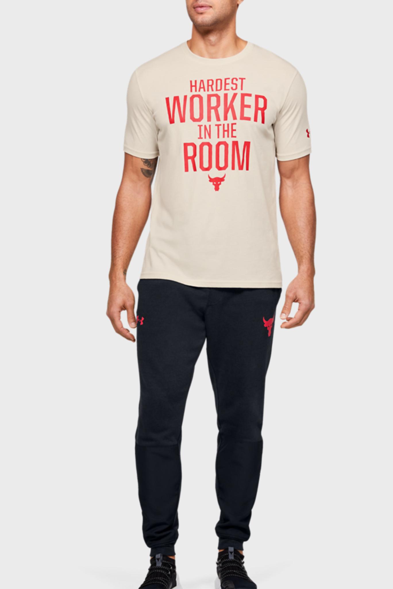 Мужская бежевая футболка Project Rock HWITR SS-WHT Under Armour
