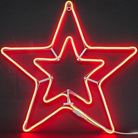 Звезда из гибкого неона d-57 см. Красная