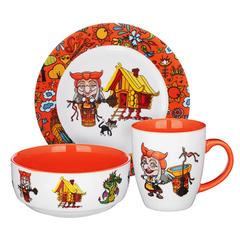 Бабуся Ягуся набор детской посуды MILLIMI,3 предмета, Костяной фарфор