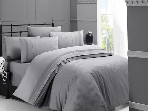 Комплект постельного белья DO&CO Сатин  жаккард DELUX 200*220 (50*70/2) (70*70/2) SQUARE цвет серый