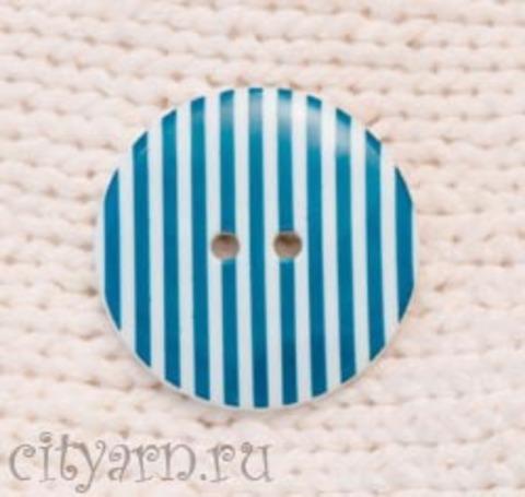 Пуговица полосатая, большая, синяя цвета морской волны с белым