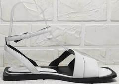 Женские кожаные босоножки абаркасы Brocoli H1886-9165-S873 White.