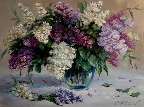 Алмазная Мозаика 40x50 Белая и фиолетовая сирень в прозрачной вазе