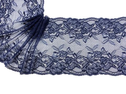 Кружево эластичное темно-синее 22 см