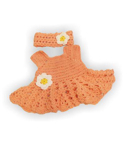 Вязаный сарафан и полоска - Персик. Одежда для кукол, пупсов и мягких игрушек.