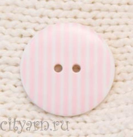 Пуговица полосатая, большая, бледно-розовая с белым