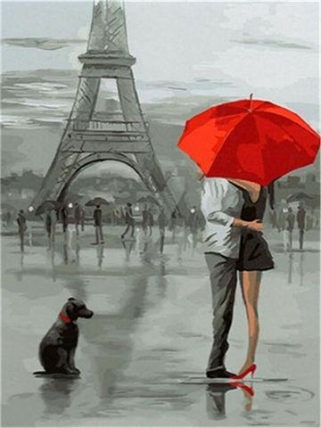 Картина раскраска по номерам 30x40 Поцелуй за красным зонтом в Париже