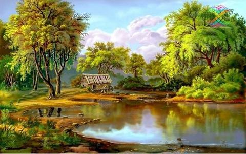 Алмазная Мозаика + Багет 40x50 Домик у пруда