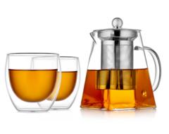 Заварочный чайник квадратный с чашками – набор Квадрат