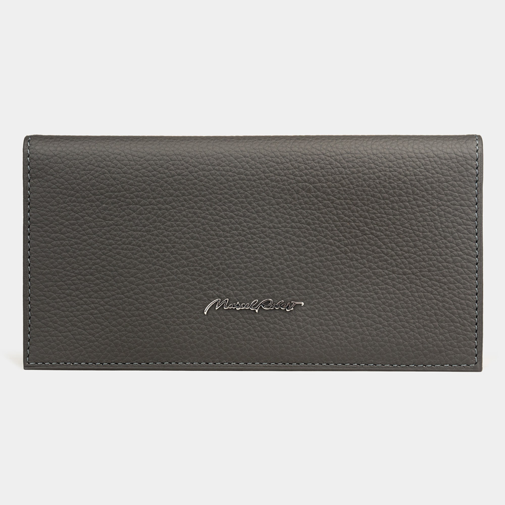 Длинный кошелек Lingot Easy из натуральной кожи теленка, серого цвета