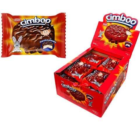 CIMBOO Шоколадное бисквитное печенье с начинкой MARSHMALLOW 1кор*6бл*24 шт, 50г