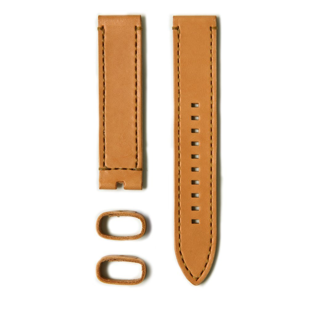 22 20mm Caramel Leather Strap