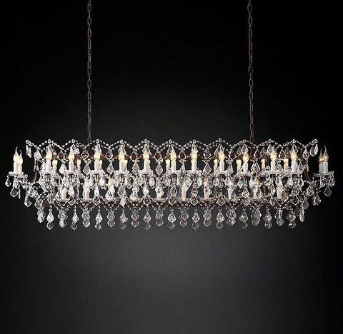 Подвесной светильник копия 19th C. Rococo Iron & Clear Crystal Rectangular Chandelier 74