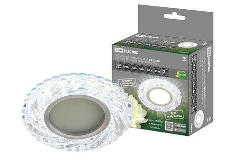 Светильник встраиваемый СВ 03-08 MR16 50Вт G5.3 LED подсветка 3 Вт зеркальный/хром TDM